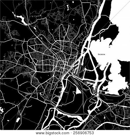 Area Map Of Szczecin, Poland. Dark Background Version For Infographic And Marketing Projects.