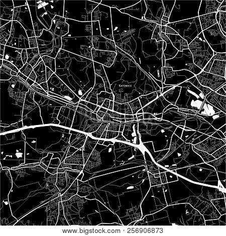 Area Map Of Katowice, Poland. Dark Background Version For Infographic And Marketing Projects.