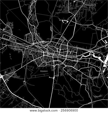 Area Map Of Bydgoszcz, Poland. Dark Background Version For Infographic And Marketing Projects.