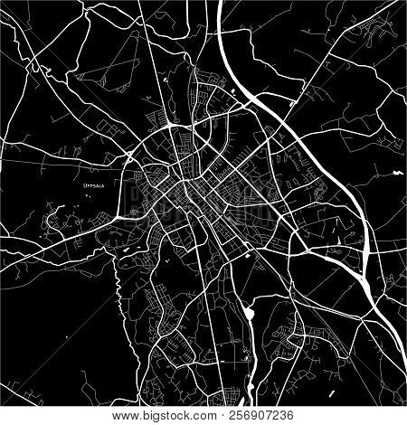 Area Map Of Uppsala, Sweden. Dark Background Version For Infographic And Marketing Projects.