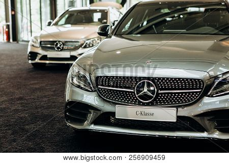 Berlin, August 29, 2018: Exhibition And Sale Of New Cars In The Official Dealer Center Mercedes-benz