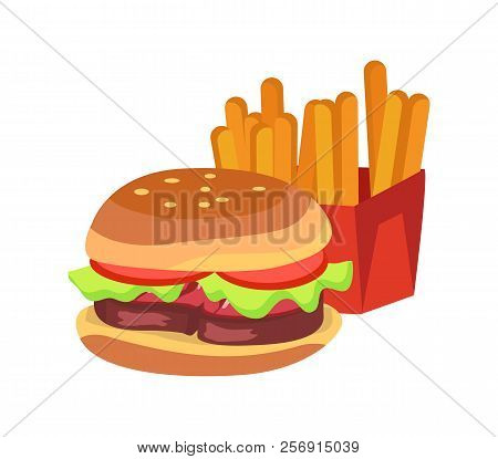 Hamburger And French Fries Fast Food Fried Potato Placed In Box Of Red Color