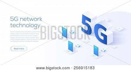 5g Network Technology In Isometric Vector Illustration. Wireless Mobile Telecommunication Service Co