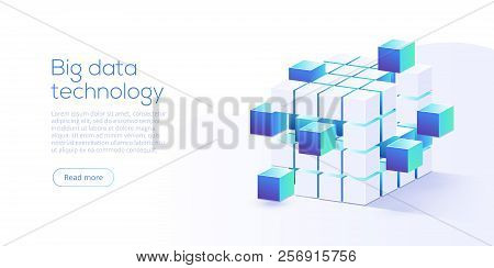 Big Data Technology In Isometric Vector Illustration. Information Storage And Analysis System.