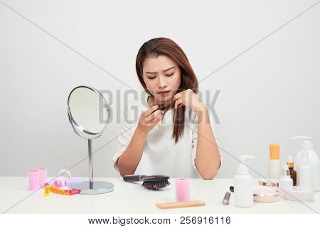 Woman With Damaged Hair. Woman With Hair Problems - Brittle, Damaged, Dry, Dirty And Loss Hair Conce