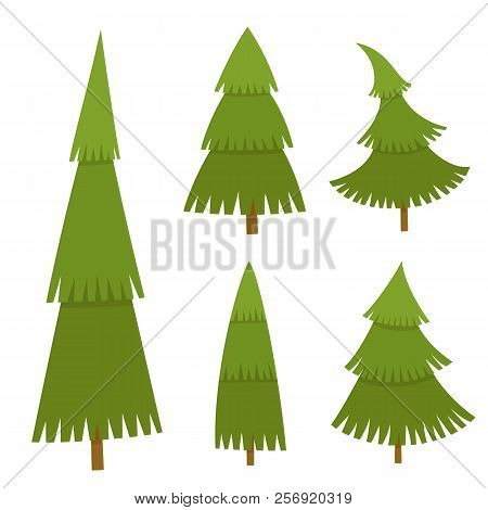 Set Of Christmas Tree In Cartoon Style