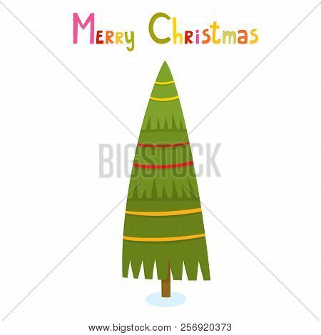 Christmas Tree With Text In Cartoon Style