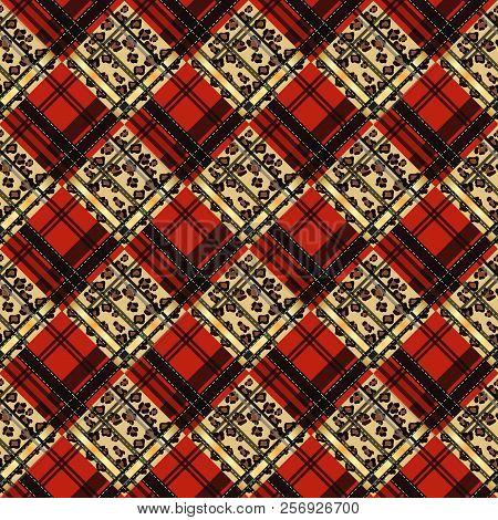 Vector Illustration Of Colorful Tartan, Plaid Fabric. Scotland Kilt Textile, Red And Leopard Tartan