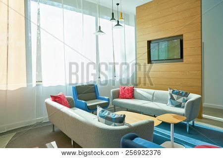 MOSCOW, RUSSIA - CIRCA AUGUST, 2018: interior shot of a Holiday Inn Express Hotel. Holiday Inn Express is a mid-priced hotel chain within the InterContinental Hotels Group family of brands.