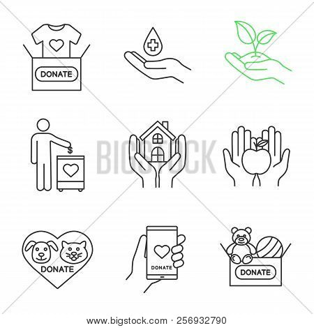 Charity Linear Icons Set. Thin Line Contour Symbols. Blood, Toys, Clothes, Food Donation, Greening,