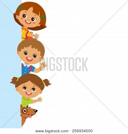 Childhood Is The Safest Period Of Human Life. Smiling Cute Kids Behind Vertical Banner Vector. Group