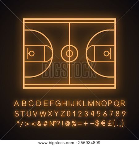 Basketball Court Neon Light Icon. Glowing Sign With Alphabet, Numbers And Symbols. Vector Isolated I
