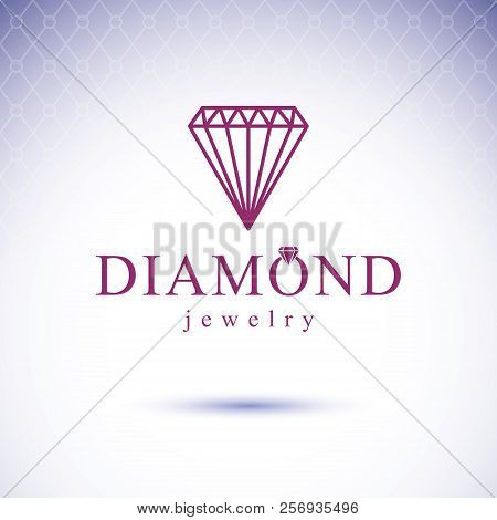 Vector Elegant Sparkling Gem. Glossy Diamond Sign Emblem. Faceted Gemstone Illustration.