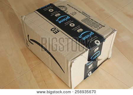 Roquebrune-cap-martin, France, September 5, 2018: Amazon Package Box Cardboard Delivery From Amazon