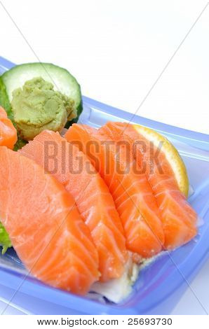 Four salmon sushi isolated in white background poster
