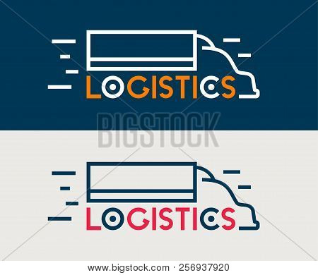 Logistics Icon. Company Business Logo. Truck Delivery Symbol. Logistics Transportation Service. Inte