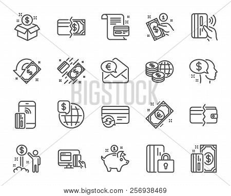 Money Line Icons. Set Of Update Credit Card, Contactless Pay And Piggy Bank Linear Icons. Online Pay