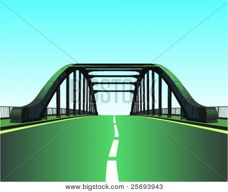 Quite country road through metal bridge.