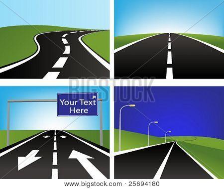 Vector illustration of four asphalt roads