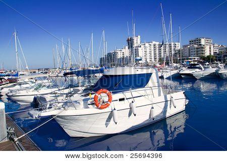 Ibiza San antonio Abad boats marina port in blue summer day at Spain