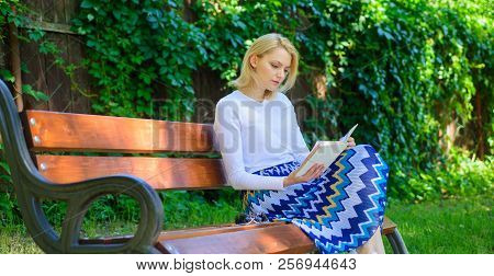 Woman Blonde Take Break Relaxing In Park Reading Book. Reading Literature As Hobby. Favourite Book.