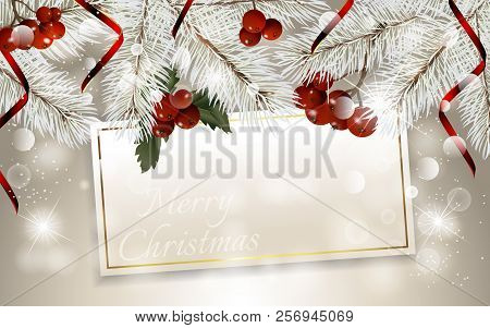 Christmas Card With Fir Branches, Christmas Berry And Red Ribbon, With Space For Text. Vector Christ