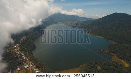 Aerial View Of Lake Buyan, Caldera Lake At Bali. Beautiful Lake With Turquoise Water In The Mountain