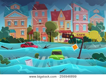 Flood Natural Disaster In Cartoon City Concept. City Floods And Cars With Garbage Floating In The Wa