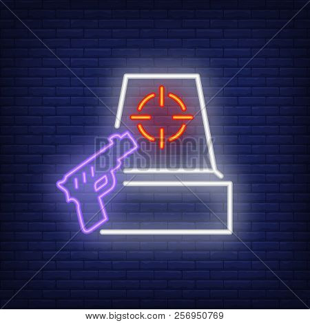 Shooter Game Neon Icon. Gun And Target On Brick Wall Background. Game Or Hobby Concept. Vector Illus
