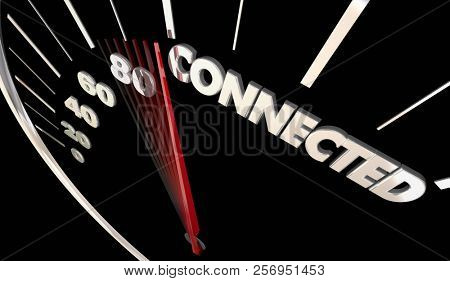 Connected Vehicle Car Auto Connectivity Speedometer Word 3d Illustration