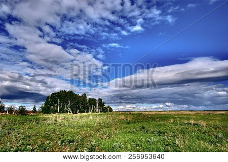 Blue Sky Over Green Meadow And Small Forest. On Blue Sky With Large Cumulus Clouds. Below Is A Green