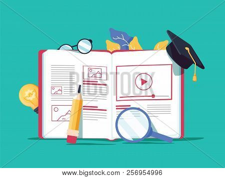 Vector Creative Illustration, Online E-learning, Distance Learning, Web Design, Online Courses. Book