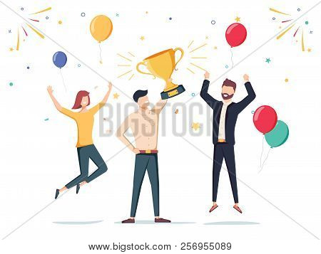 Win Achievement. Happy Company Employee Awarding A Trophy Prize To Their Leader. Business Vector Ill