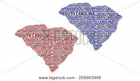 Sketch South Carolina (united States Of America) Letter Text Map, South Carolina Map - In The Shape