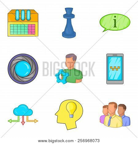 Progressive Annex Icons Set. Cartoon Set Of 9 Progressive Annex Icons For Web Isolated On White Back