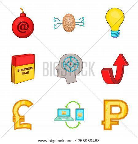 Software Application Icons Set. Cartoon Set Of 9 Software Application Icons For Web Isolated On Whit