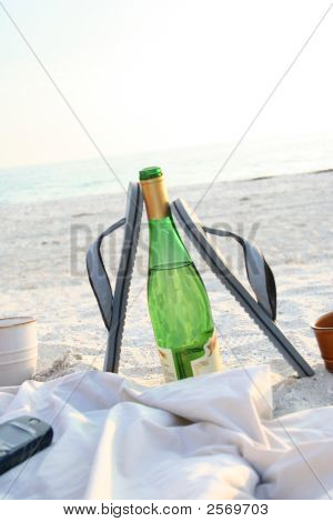 Beach And Wine Bottle