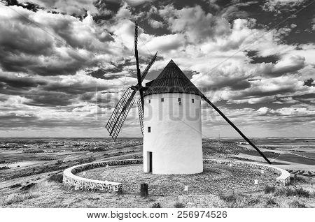 Windmill Of Don Quijote In Alcazar De San Juan. Castilla La Mancha. Spain. Black And White