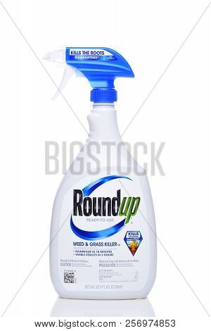 Irvine, California - Sept 6, 2018: Bottle Of Roundup Weed And Grass Killer. The Controversial Produc