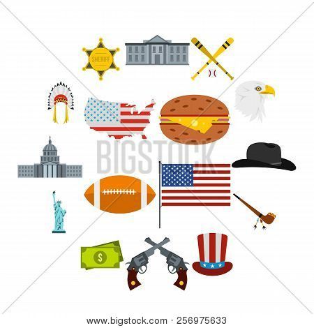 Flat Usa Icons Set. Universal Usa Icons To Use For Web And Mobile Ui, Set Of Basic Usa Elements Isol
