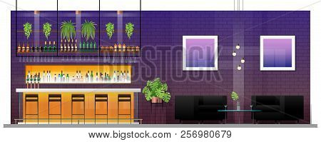 Interior Scene Of Modern Pub With Bar Counter , Table And Chairs , Vector , Illustration