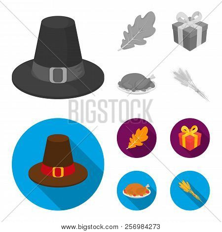 Hat Of A Pilgrim, Oak Leaf, Gift In A Box, Fried Turkey. Canada Thanksgiving Day Set Collection Icon