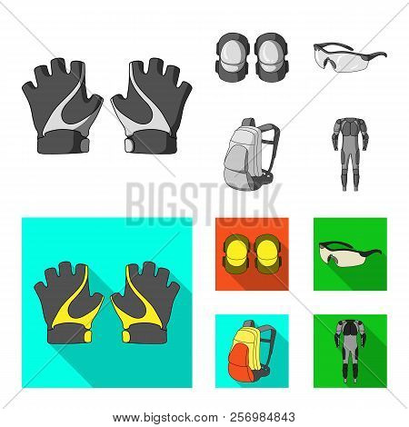 Gloves, Elbow Pads, Goggles, Cyclist Backpack.cyclist Outfit Set Collection Icons In Monochrome, Fla
