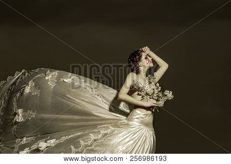Suffering bride woman. Halloween and horror. themis cry with blood tears, injustice. sorrow and halloween concept. suffering woman in wedding dress. poster