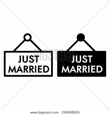 Just Married Line And Glyph Icon. Plank Just Married Illustration Isolated On White. Wedding Outline