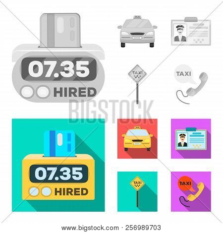 The Counter Of The Fare In The Taxi, The Taxi Car, The Driver S Badge, The Parking Lot Of The Car. T