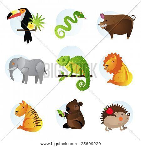 Different bright jungle and safari animals