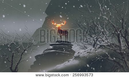 The Deer With Its Fire Horns Standing On Rocks In Winter Landscape, Digital Art Style, Illustration