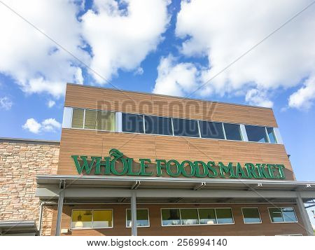 Outdoor Patio And Facade Of Whole Foods Market In Dallas, Texas, Usa
