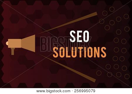 Handwriting Text Seo Solutions. Concept Meaning Search Engine Result Page Increase Visitors By Ranki